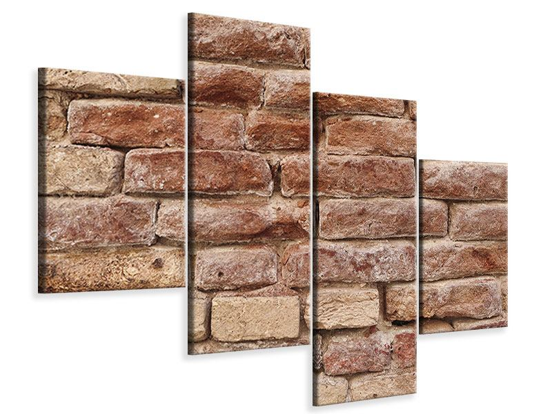 Leinwandbild 4-teilig modern Loft-Mauer