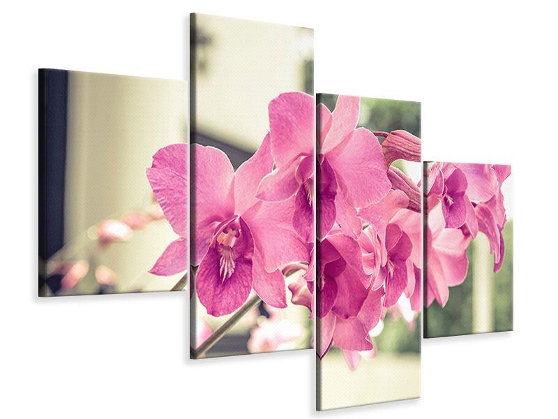 Leinwandbild 4-teilig modern Ein Fensterplatz für die Orchideen