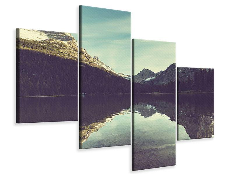 Leinwandbild 4-teilig modern Spiegelung im Bergsee