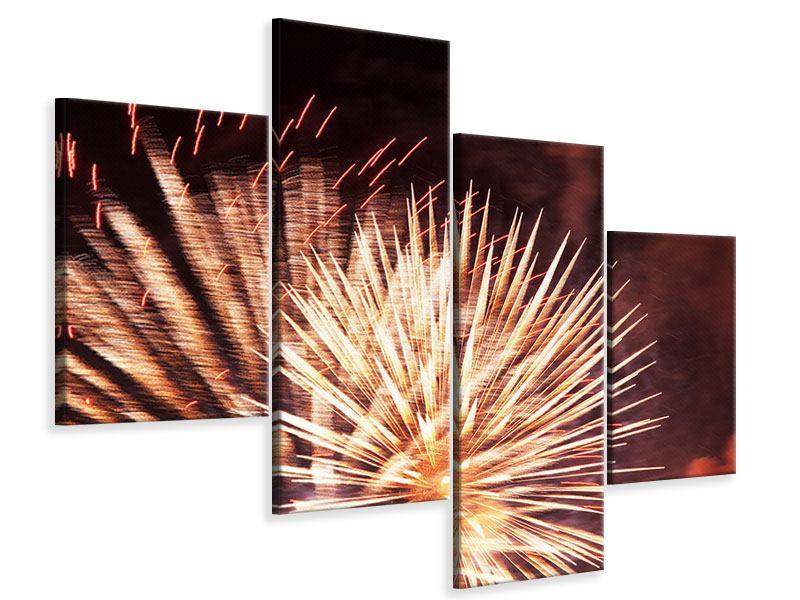 Leinwandbild 4-teilig modern Close Up Feuerwerk