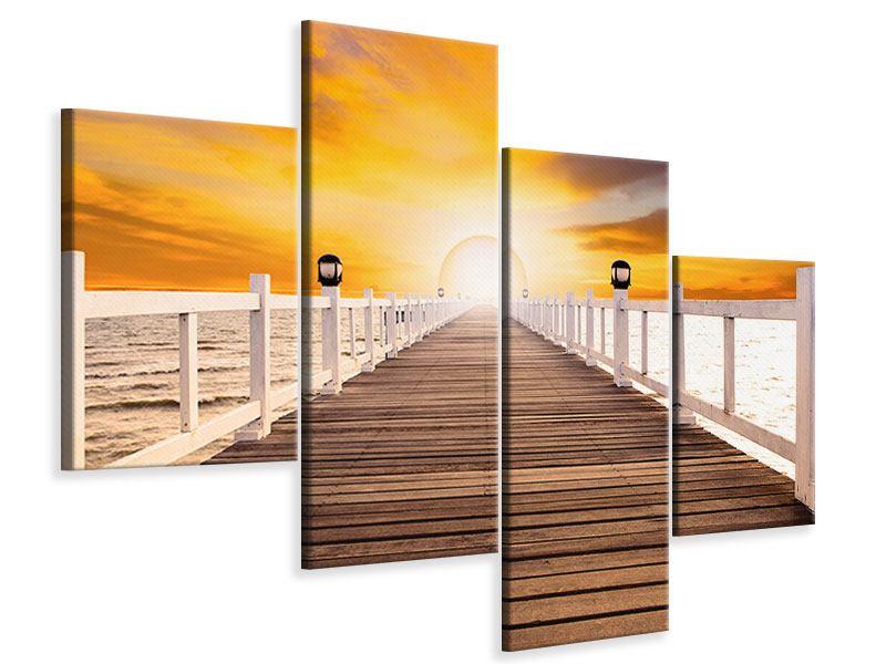 Leinwandbild 4-teilig modern Die Brücke Ins Glück