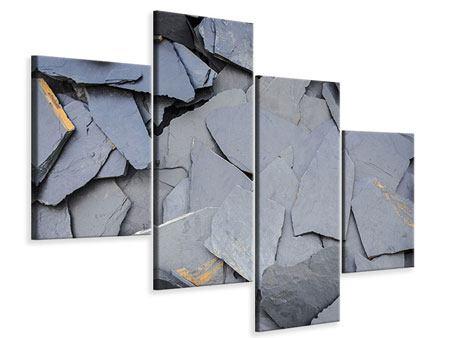 Leinwandbild 4-teilig modern Schieferplatten
