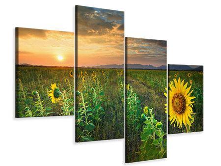 Leinwandbild 4-teilig modern Sonnenblumenfeld im Abendrot