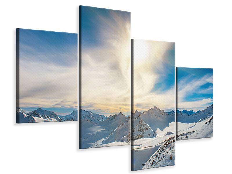 Leinwandbild 4-teilig modern Über den verschneiten Gipfeln
