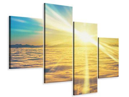 Leinwandbild 4-teilig modern Sonnenuntergang über den Wolken
