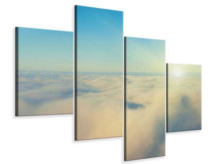 Leinwandbild 4-teilig modern Dämmerung über den Wolken