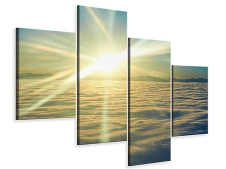 Leinwandbild 4-teilig modern Sonnenaufgang über den Wolken