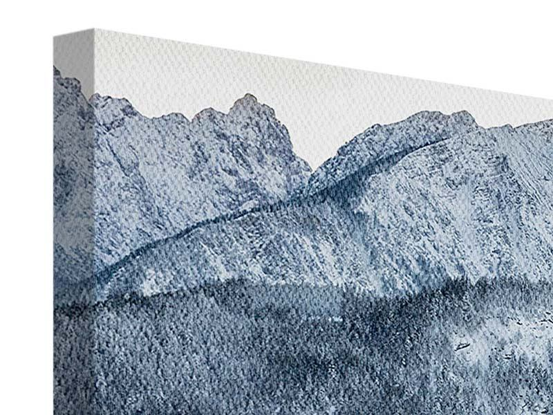 Leinwandbild 4-teilig modern Schwarzweissfotografie Berge