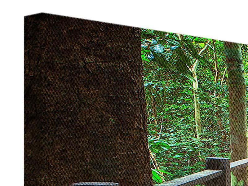Leinwandbild 4-teilig modern Die Brücke im Wald