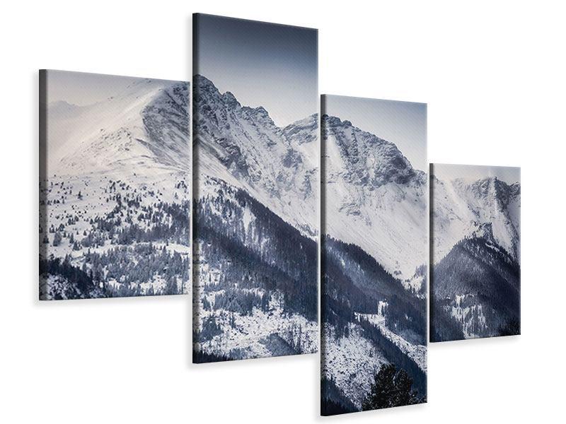 Leinwandbild 4-teilig modern Die Berge der Schweiz