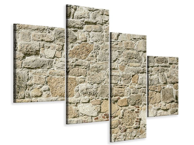 Leinwandbild 4-teilig modern Naturmauer