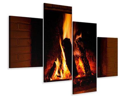 Leinwandbild 4-teilig modern Feuer im Kamin