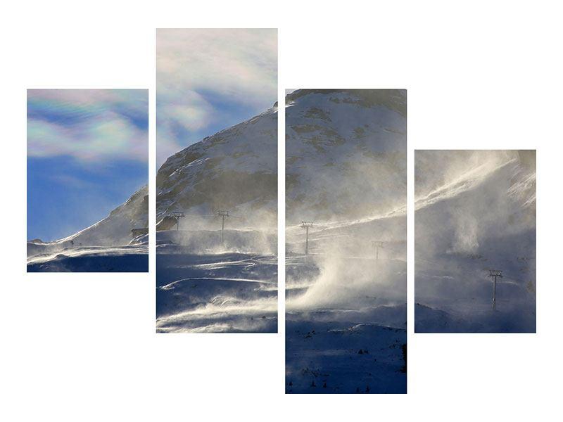 Leinwandbild 4-teilig modern Mit Schneeverwehungen den Berg in Szene gesetzt