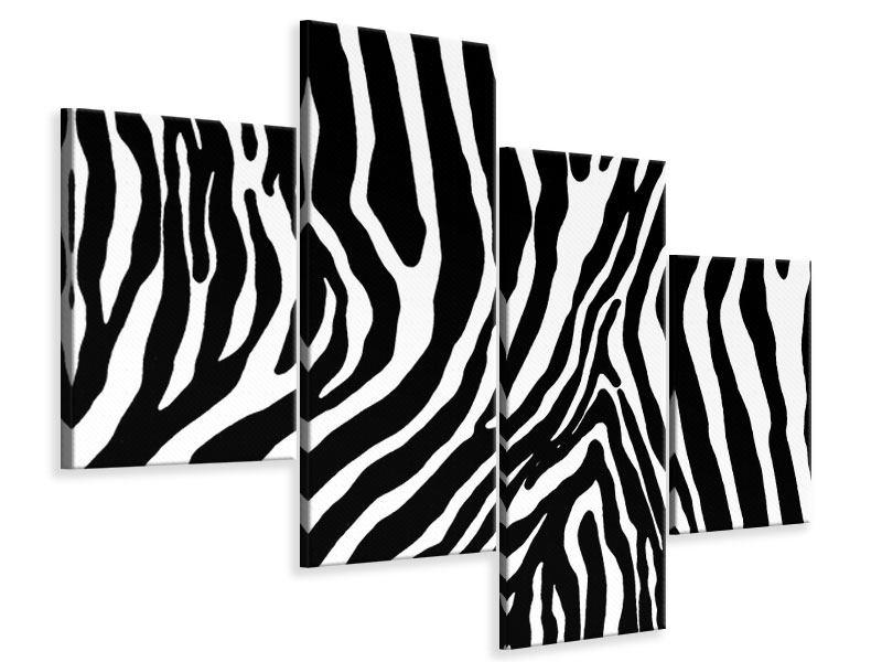 Leinwandbild 4-teilig modern Zebramuster