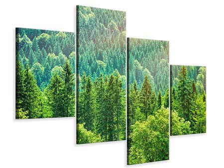 Leinwandbild 4-teilig modern Der Waldhügel