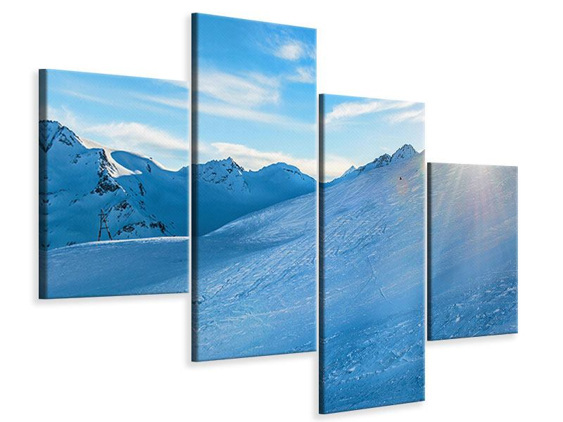 Leinwandbild 4-teilig modern Sonnenaufgang in den Bergen
