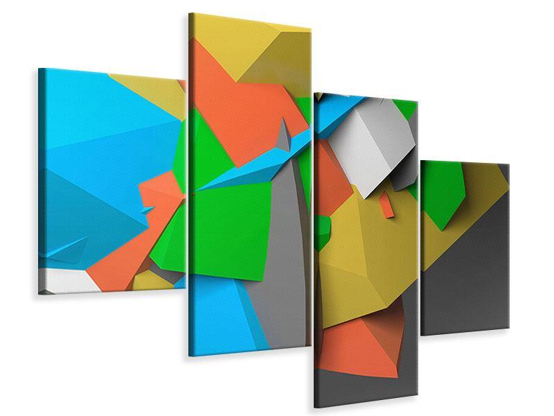 Leinwandbild 4-teilig modern 3D-Geometrische Figuren