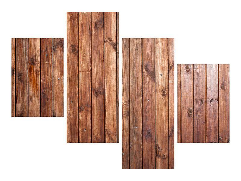 Leinwandbild 4-teilig modern Edelholz