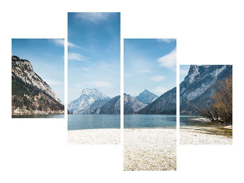 Leinwandbild 4-teilig modern Der idyllische Bergsee