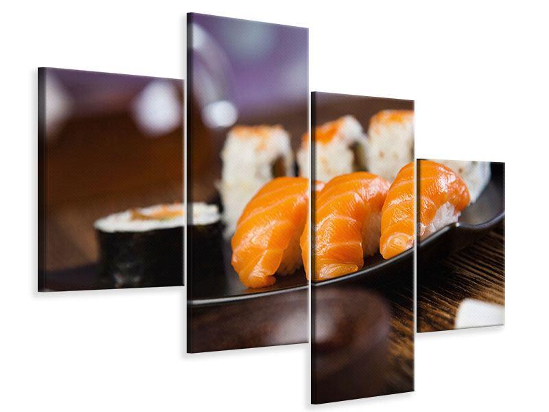 Leinwandbild 4-teilig modern Sushi-Gericht
