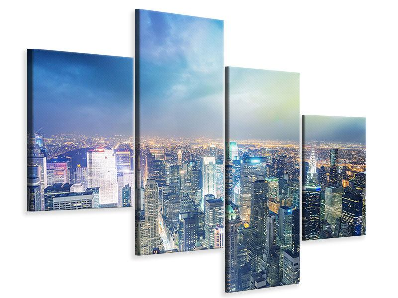 Leinwandbild 4-teilig modern Skyline NY bei Sonnenuntergang