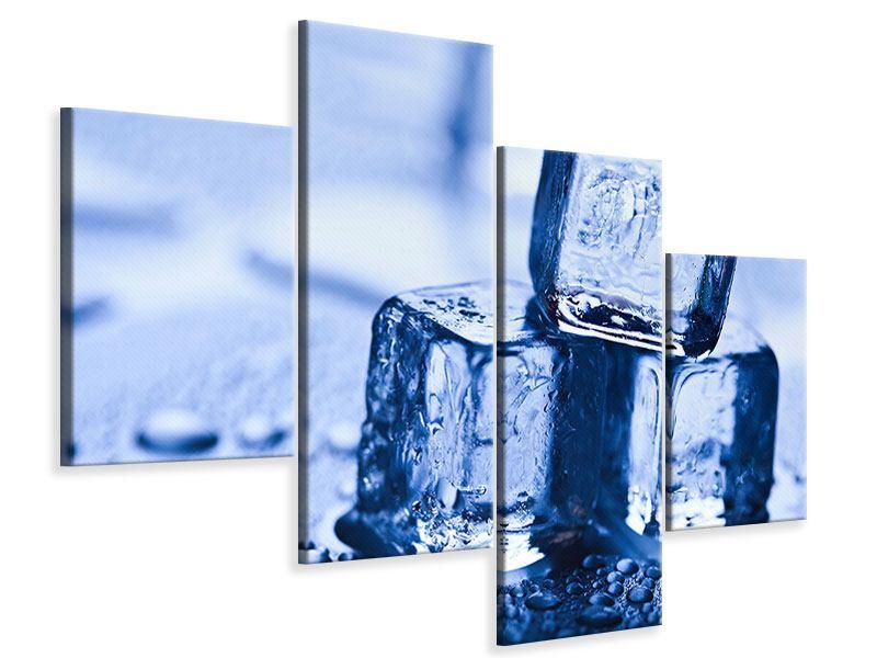 Leinwandbild 4-teilig modern Eiswürfel
