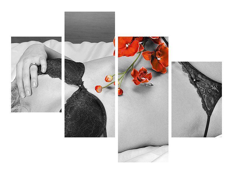 Leinwandbild 4-teilig modern Dessous-Schönheit