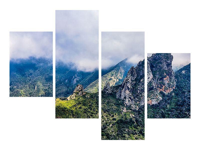 Leinwandbild 4-teilig modern Der stille Berg