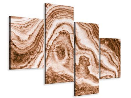 Leinwandbild 4-teilig modern Marmor in Sepia