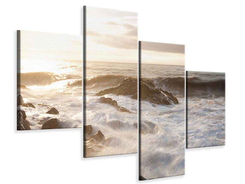 Leinwandbild 4-teilig modern Meeresbrandung