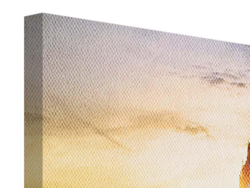 Leinwandbild 4-teilig modern Skyline Big Ben im Sonnenuntergang