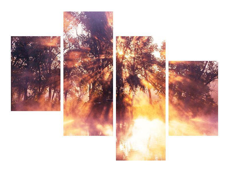 Leinwandbild 4-teilig modern Die Waldspiegelung