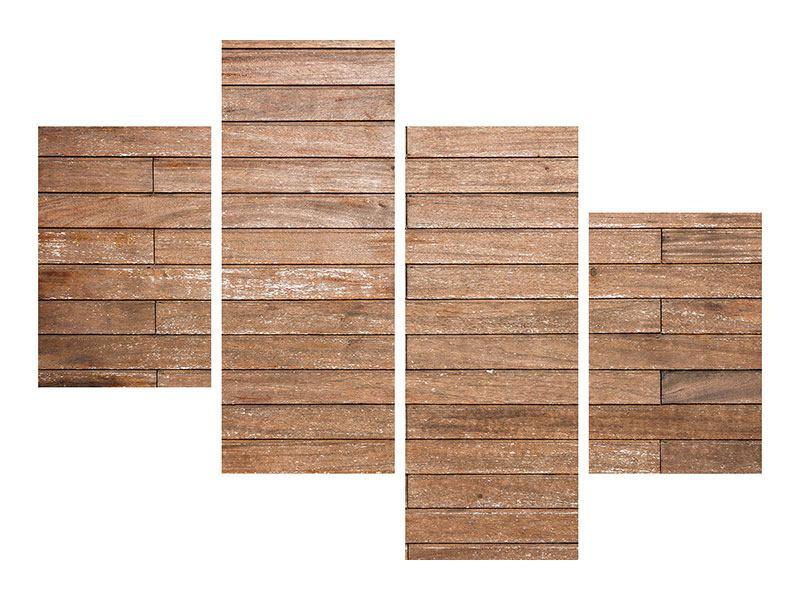 Leinwandbild 4-teilig modern Walnuss-Paneele