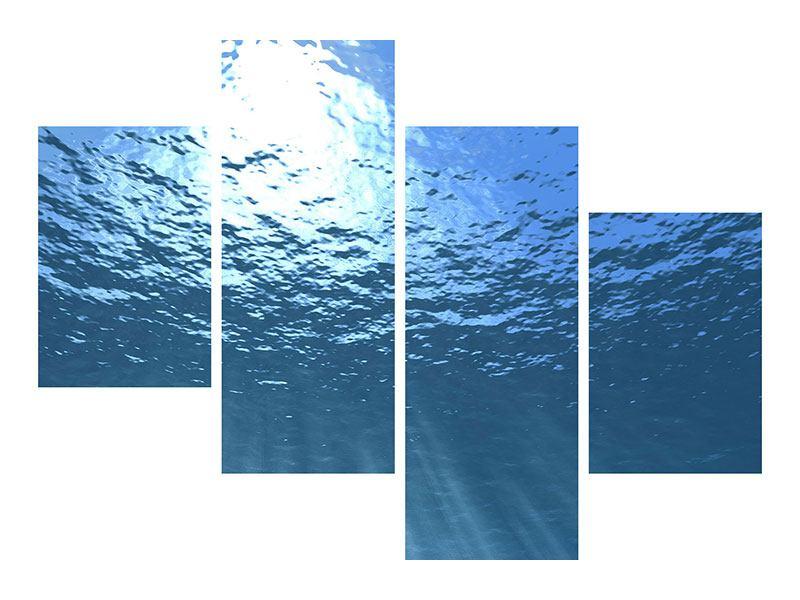 Leinwandbild 4-teilig modern Sonnenstrahlen unter Wasser