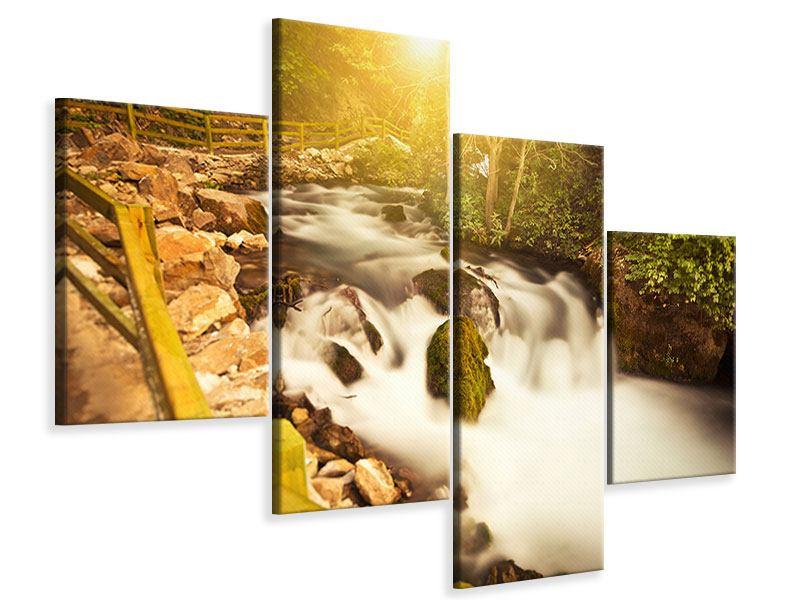 Leinwandbild 4-teilig modern Sonnenuntergang am Wasserfall