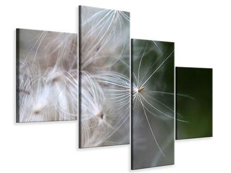 Leinwandbild 4-teilig modern Close up Blütenfasern