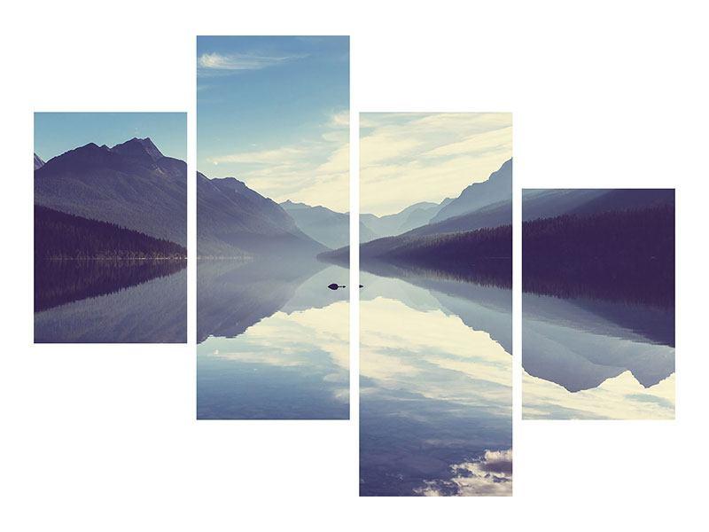 Leinwandbild 4-teilig modern Bergspiegelung