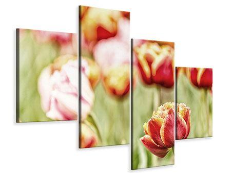 Leinwandbild 4-teilig modern Die Schönheit der Tulpe
