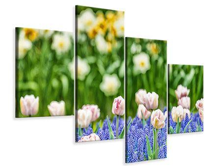 Leinwandbild 4-teilig modern Ein Garten mit Tulpen