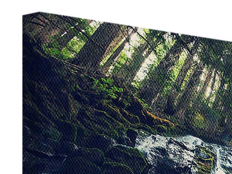 Leinwandbild 4-teilig modern Feng Shui & Wasserfall