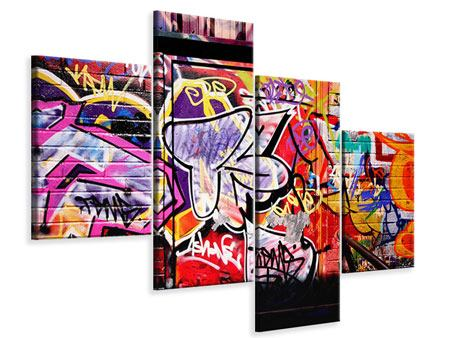 Leinwandbild 4-teilig modern Graffiti Kunst