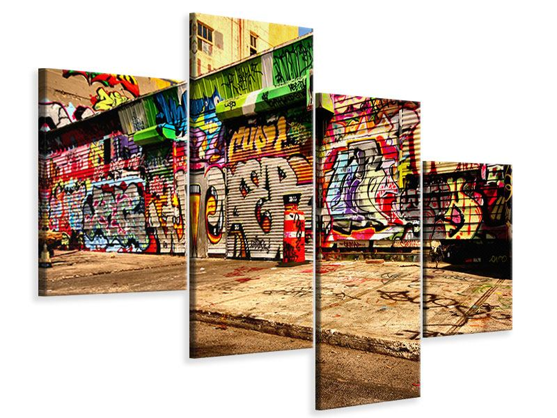 Leinwandbild 4-teilig modern NY Graffiti