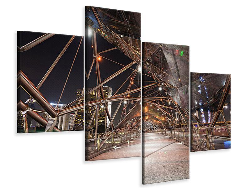 Leinwandbild 4-teilig modern Brückenlichter