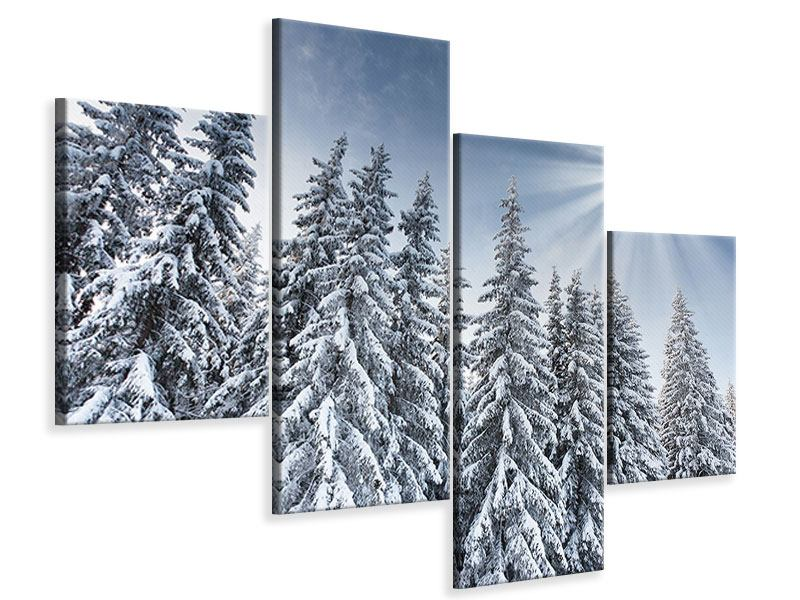 Leinwandbild 4-teilig modern Wintertannen