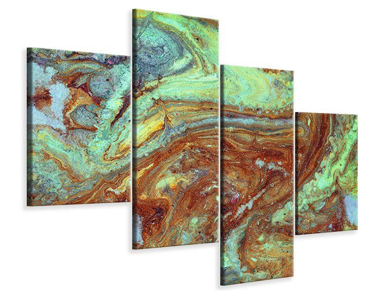 Leinwandbild 4-teilig modern Marmor in Grün