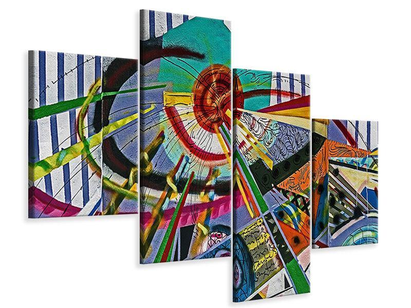 Leinwandbild 4-teilig modern Künstlerisches Graffiti