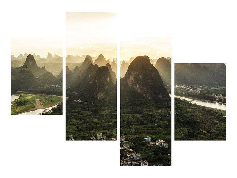 Leinwandbild 4-teilig modern Die Berge von Xingping
