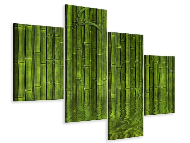 Leinwandbild 4-teilig modern Wasserspiegelung Bambus