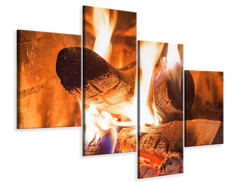 Leinwandbild 4-teilig modern Kaminfeuer