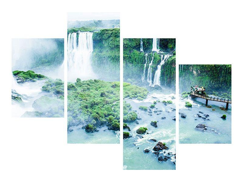 Leinwandbild 4-teilig modern Wasserfälle